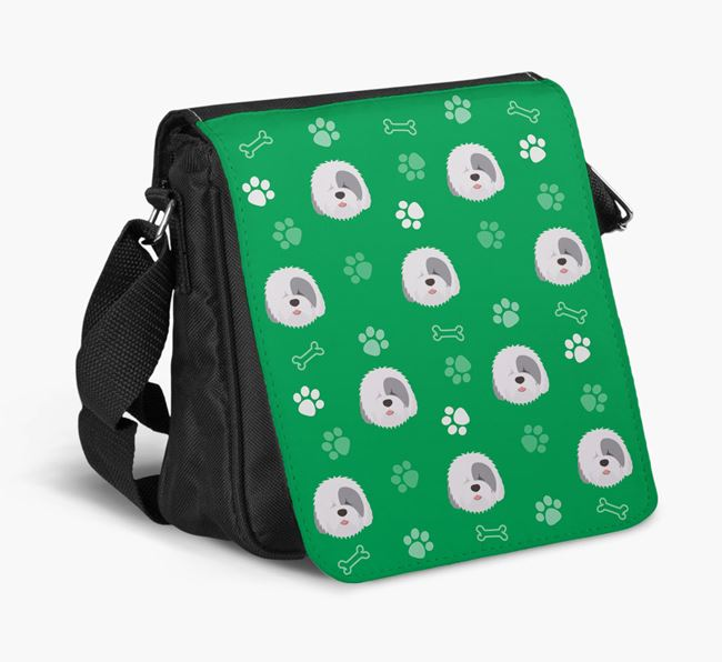 Shoulder Bag with Paw Pattern and Old English Sheepdog Icons