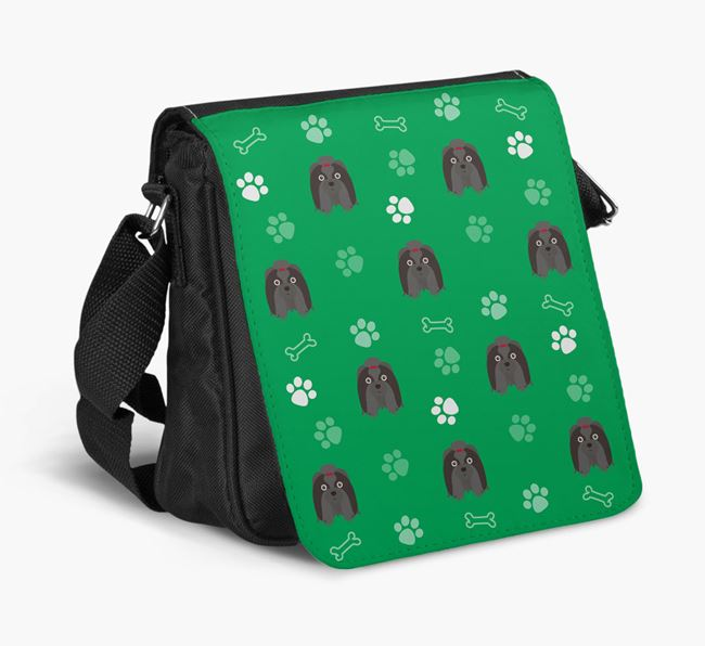 Shoulder Bag with Paw Pattern and Shih Tzu Icons