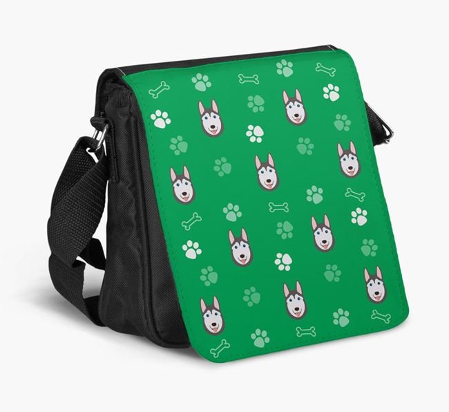 Shoulder Bag with Paw Pattern and Dog Icons