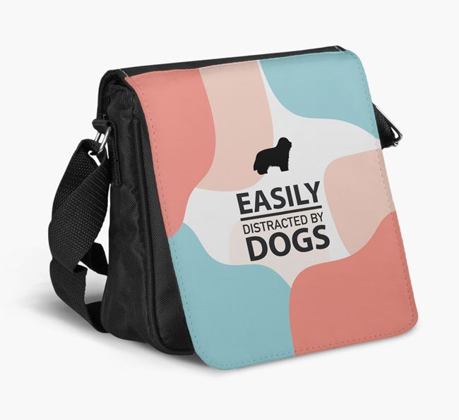 Shoulder Bag 'Easily Distracted by Dogs' with Bearded Collie Silhouette