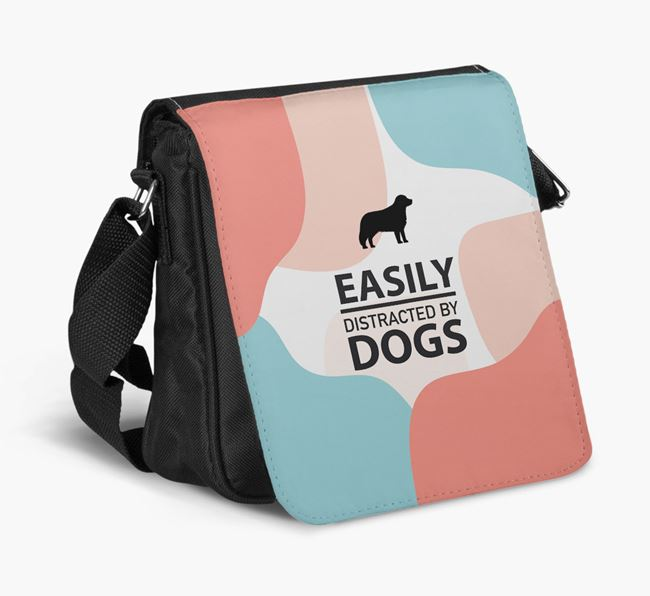 Shoulder Bag 'Easily Distracted by Dogs' with Bernese Mountain Dog Silhouette