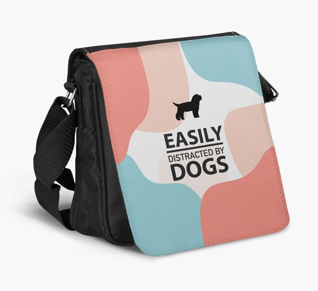 Shoulder Bag 'Easily Distracted by Dogs' with Bichon Yorkie Silhouette