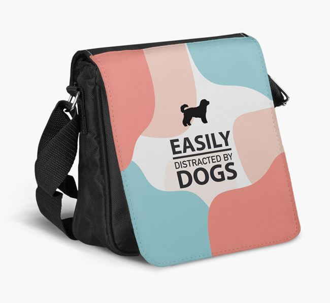 Shoulder Bag 'Easily Distracted by Dogs' with Cavachon Silhouette