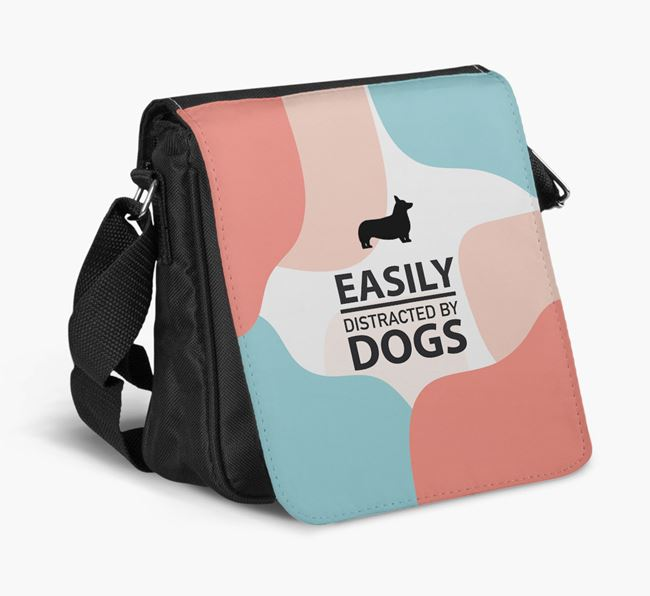 Shoulder Bag 'Easily Distracted by Dogs' with Corgi Silhouette