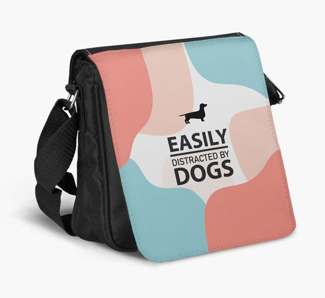 Shoulder Bag 'Easily Distracted by Dogs' with Dachshund Silhouette