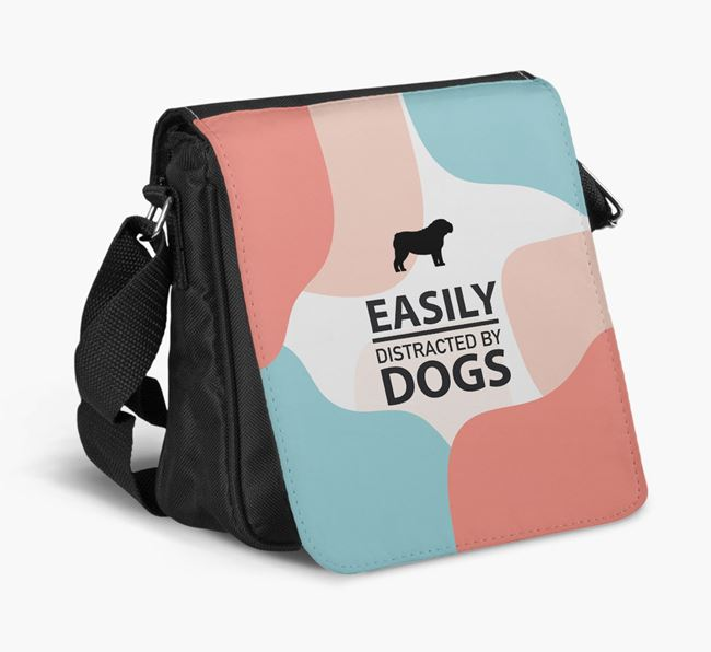 Shoulder Bag 'Easily Distracted by Dogs' with English Bulldog Silhouette