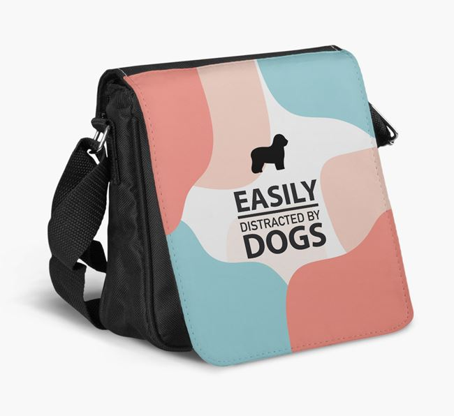 Shoulder Bag 'Easily Distracted by Dogs' with Old English Sheepdog Silhouette
