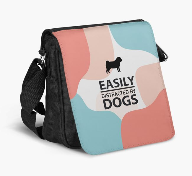 Shoulder Bag 'Easily Distracted by Dogs' with Pug Silhouette