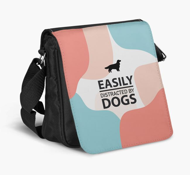 Shoulder Bag 'Easily Distracted by Dogs' with Welsh Springer Spaniel Silhouette