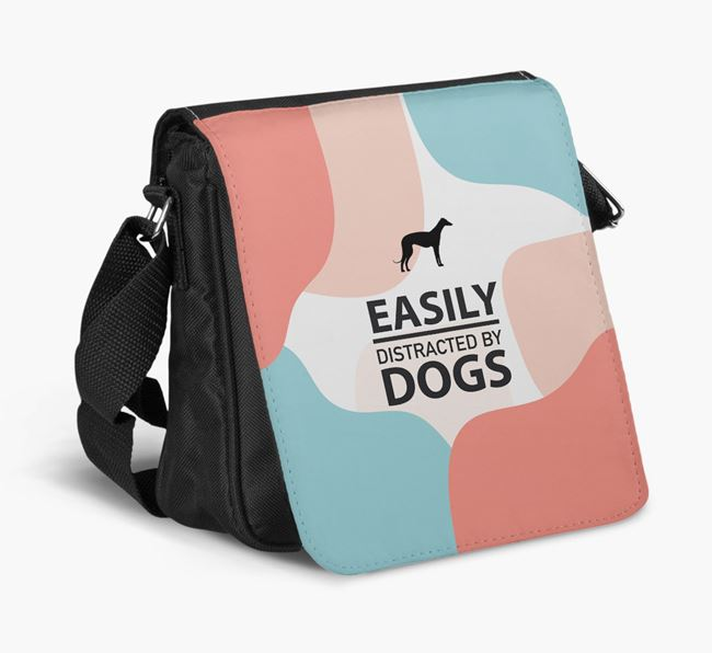 Shoulder Bag 'Easily Distracted by Dogs' with Whippet Silhouette