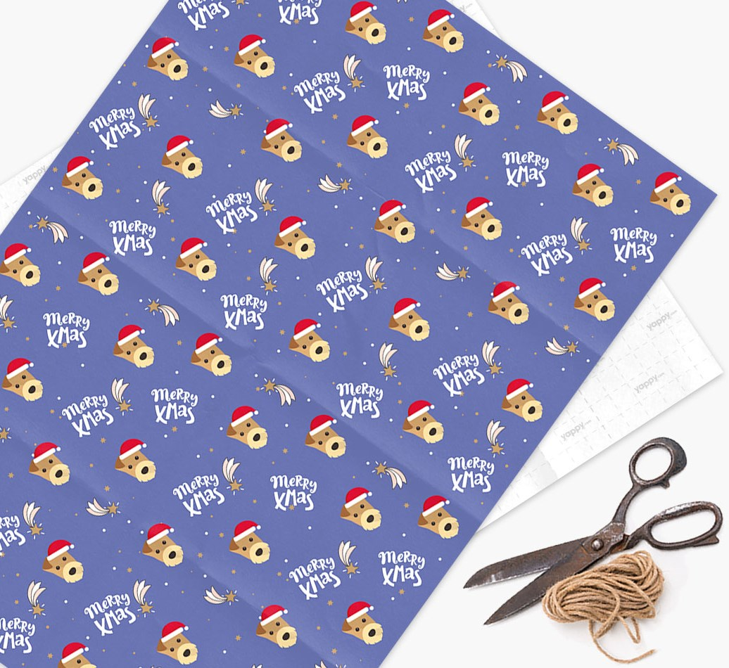 'Merry X-Mas' Wrapping Paper for your Airedale Terrier