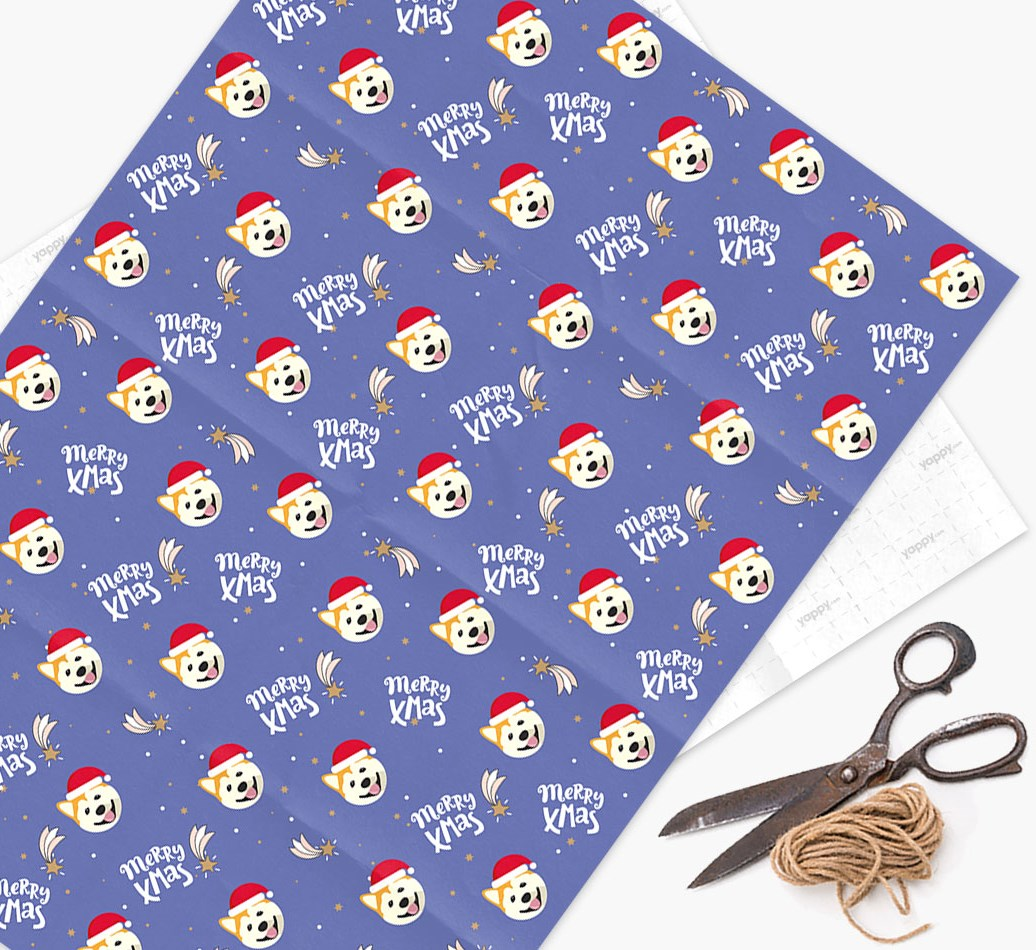 'Merry X-Mas' Wrapping Paper for your Akita