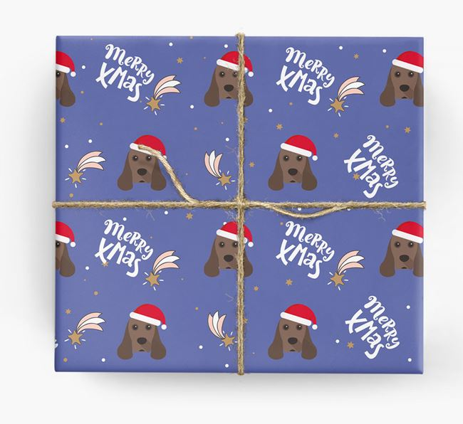 'Merry X-Mas' Wrapping Paper for your American Cocker Spaniel