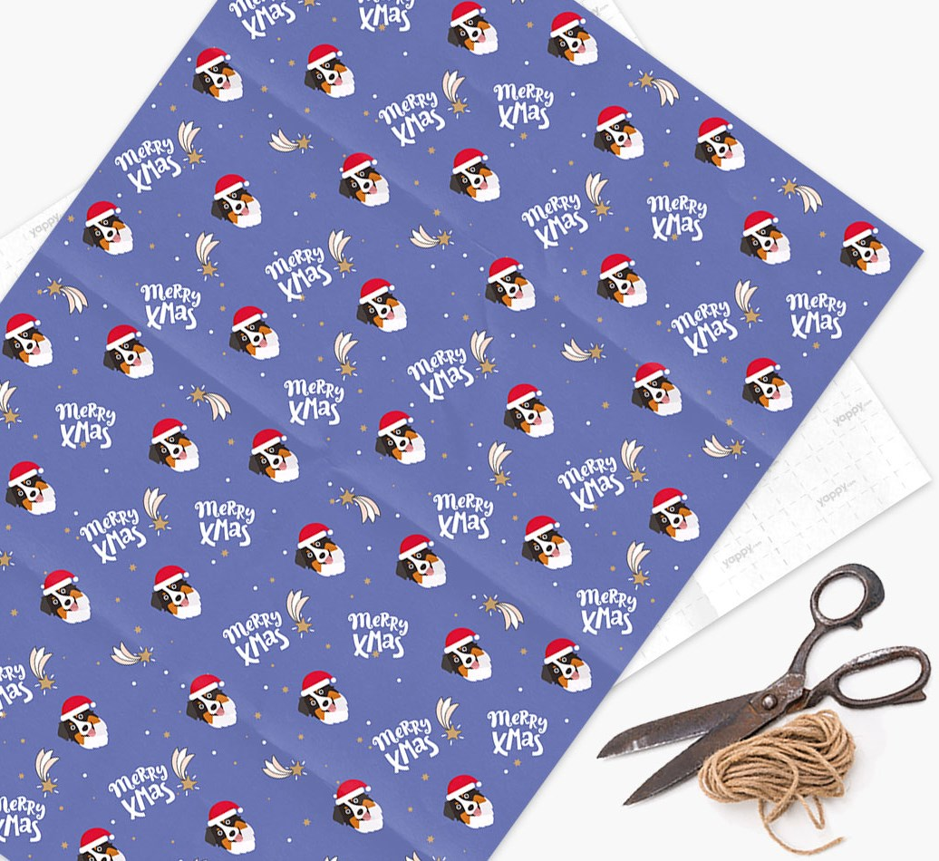 'Merry X-Mas' Wrapping Paper for your Australian Shepherd