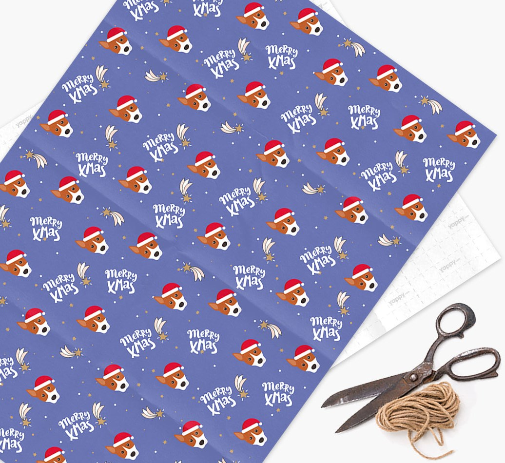 'Merry X-Mas' Wrapping Paper for your Basenji