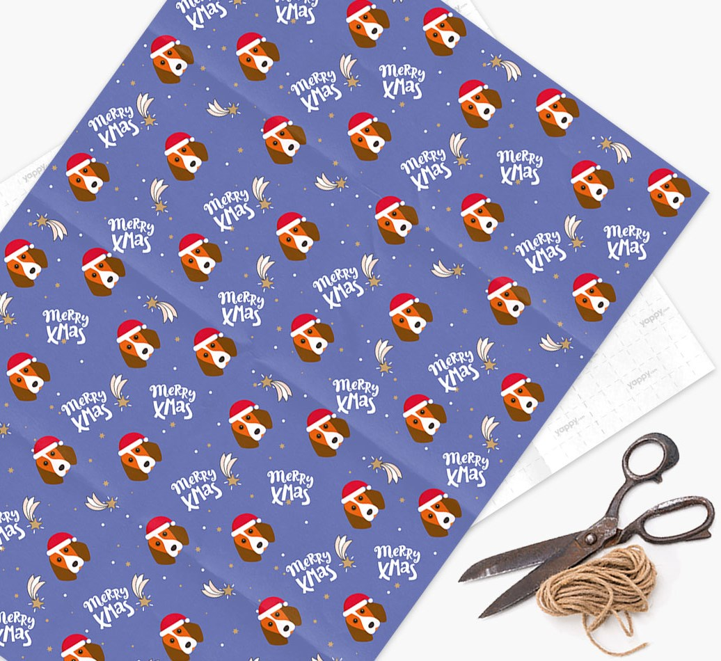 'Merry X-Mas' Wrapping Paper for your Beagle