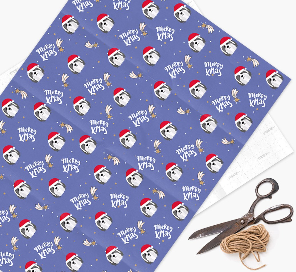 'Merry X-Mas' Wrapping Paper for your Bearded Collie