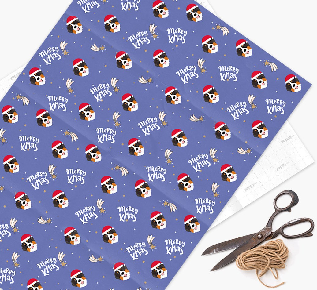 'Merry X-Mas' Wrapping Paper for your Bernese Mountain Dog