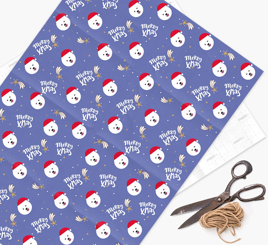 'Merry X-Mas' Wrapping Paper for your Bichon Frise