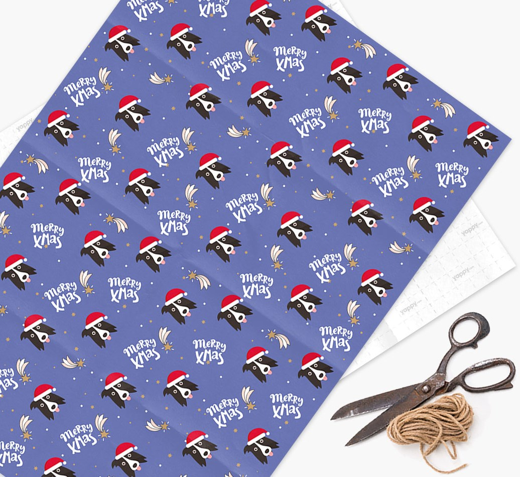 'Merry X-Mas' Wrapping Paper for your Border Collie