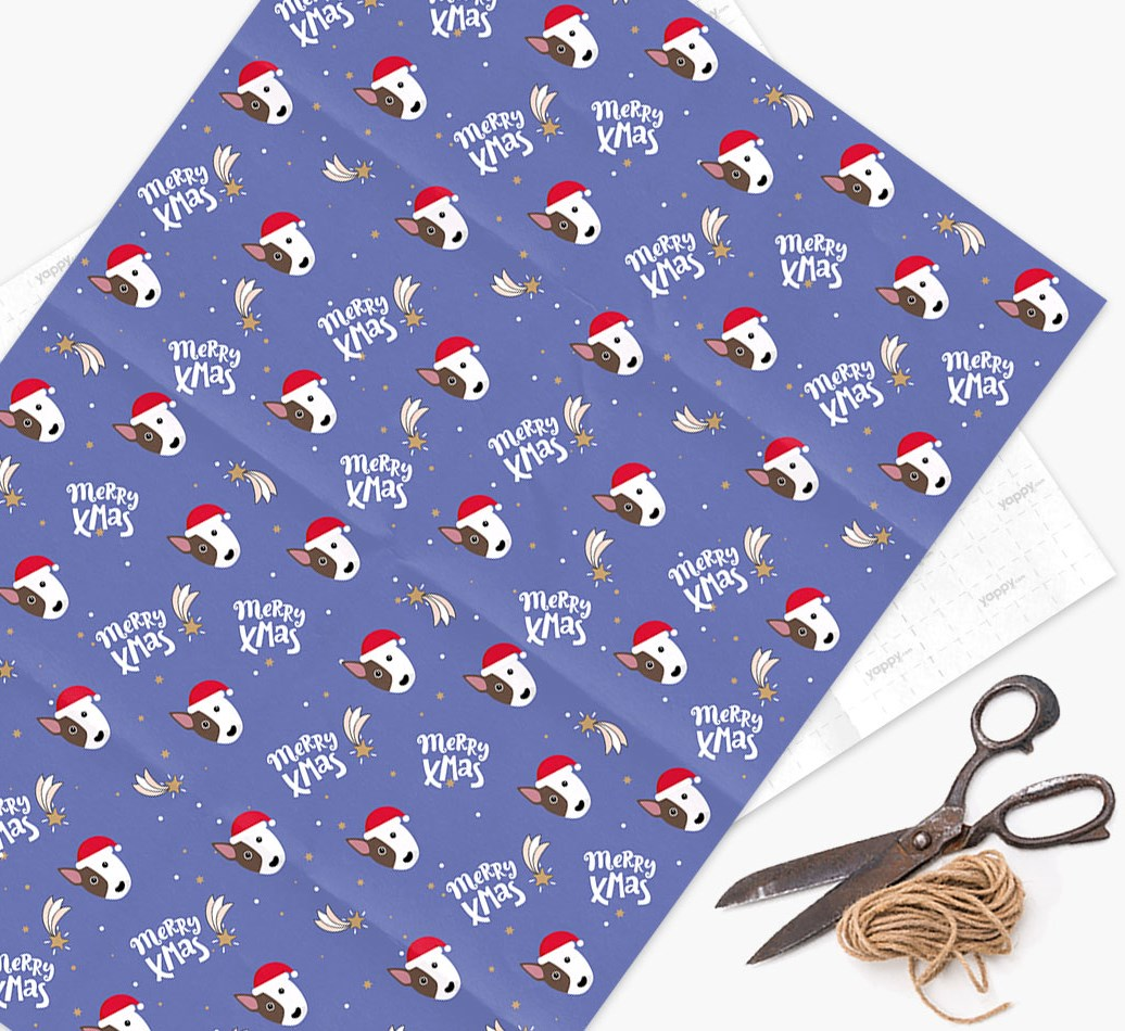 'Merry X-Mas' Wrapping Paper for your Bull Terrier
