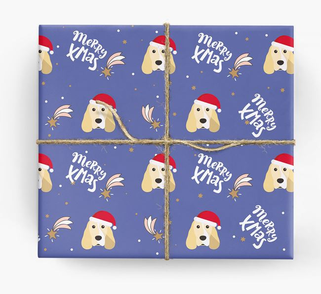 'Merry X-Mas' Wrapping Paper for your Cocker Spaniel