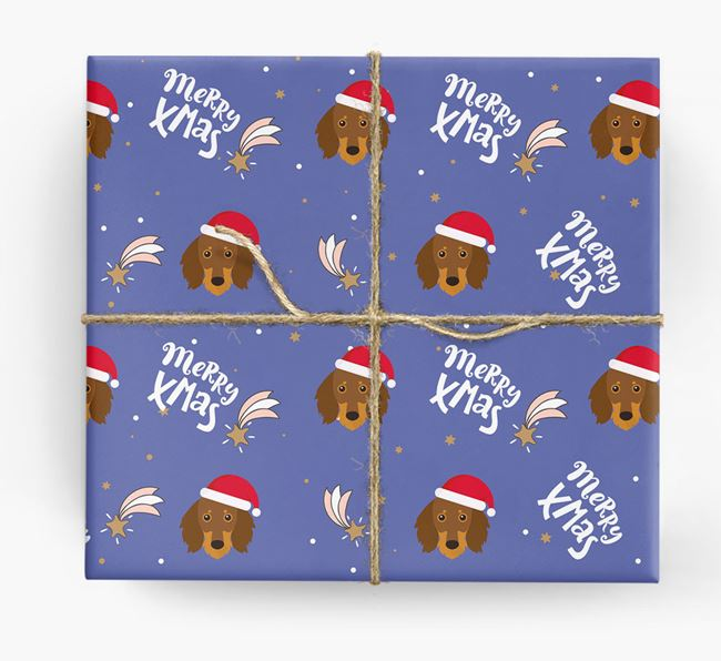 'Merry X-Mas' Wrapping Paper for your Dachshund
