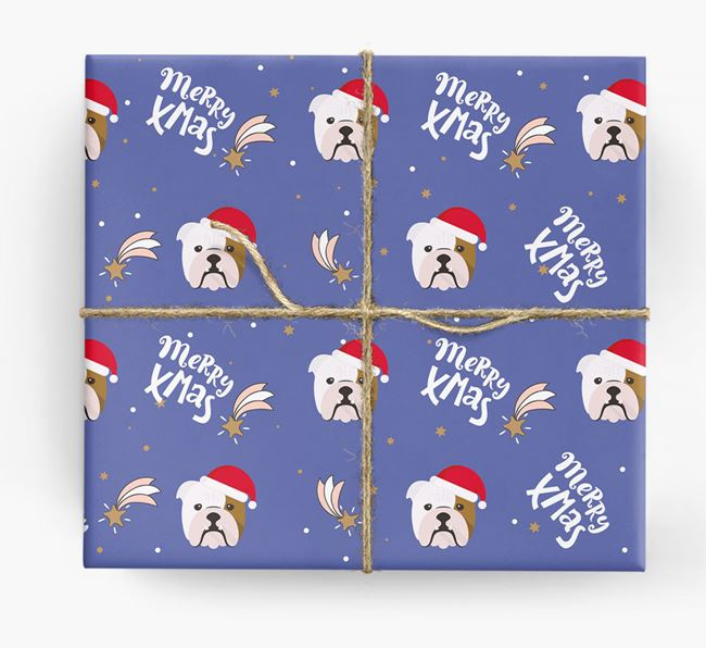 'Merry X-Mas' Wrapping Paper for your English Bulldog