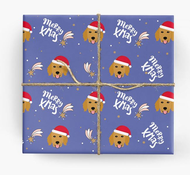 'Merry X-Mas' Wrapping Paper for your Flat-Coated Retriever