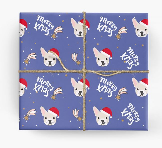 'Merry X-Mas' Wrapping Paper for your French Bulldog