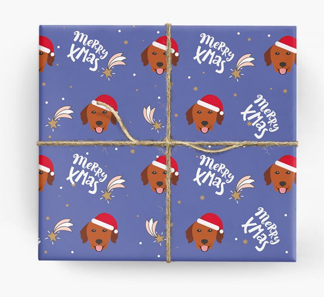 'Merry X-Mas' Wrapping Paper for your Golden Retriever