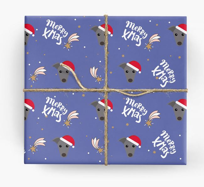 'Merry X-Mas' Wrapping Paper for your Greyhound