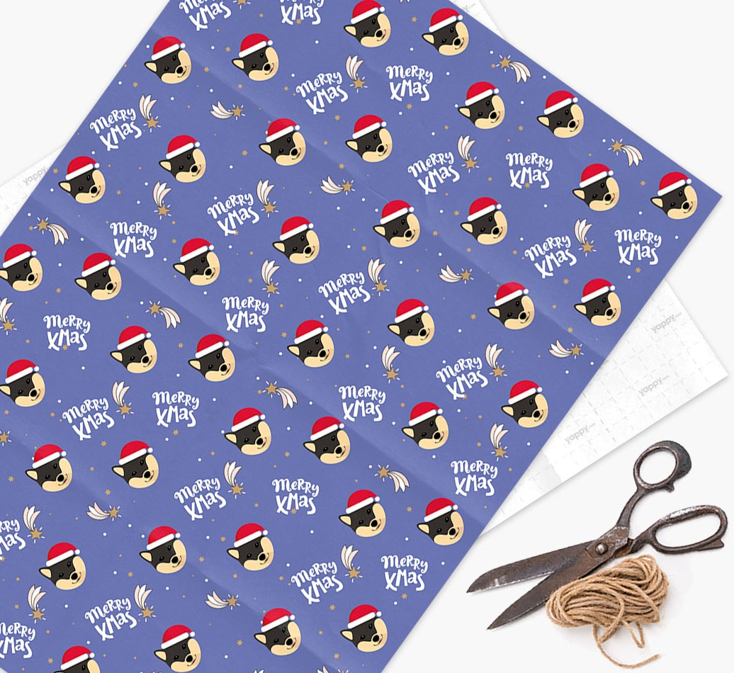 'Merry X-Mas' Wrapping Paper for your Japanese Shiba
