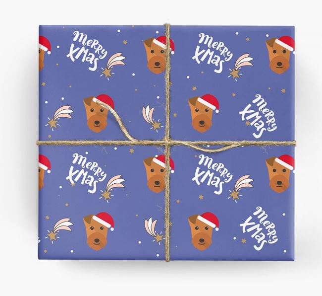 'Merry X-Mas' Wrapping Paper for your Lakeland Terrier