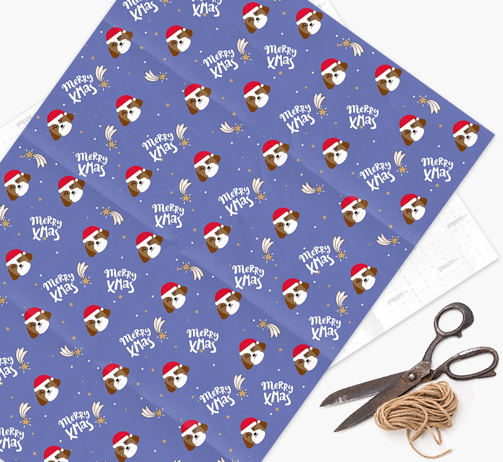 'Merry X-Mas' Wrapping Paper for your Lhasa Apso
