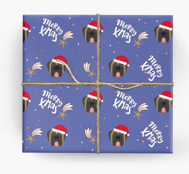 'Merry X-Mas' Wrapping Paper for your Mastiff