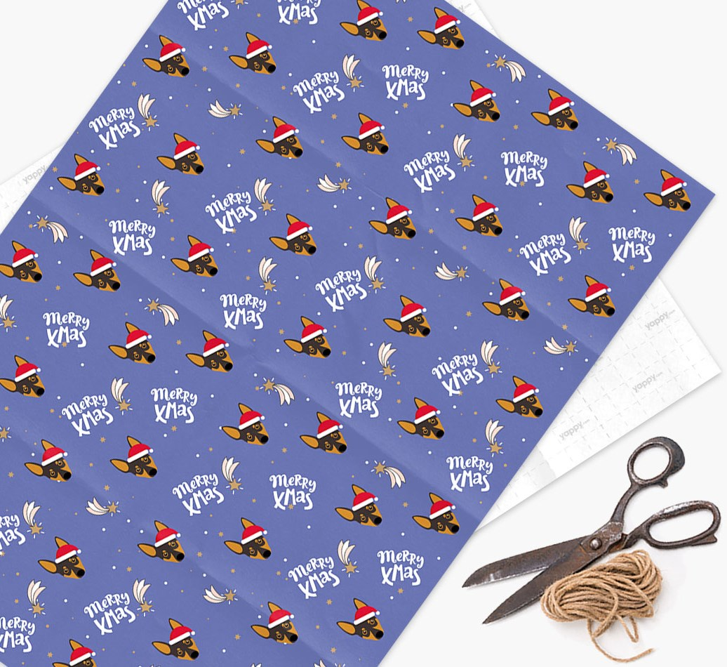 'Merry X-Mas' Wrapping Paper for your Miniature Pinscher
