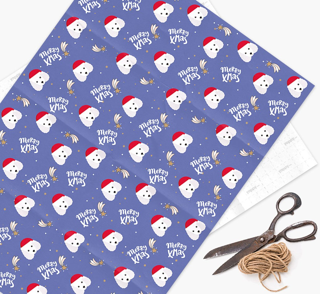 'Merry X-Mas' Wrapping Paper for your Miniature Poodle