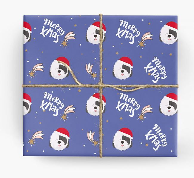 'Merry X-Mas' Wrapping Paper for your Old English Sheepdog