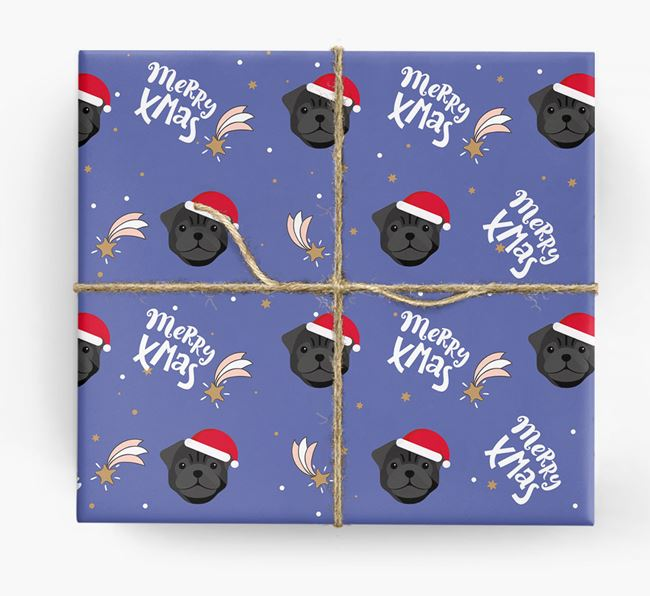'Merry X-Mas' Wrapping Paper for your Pug