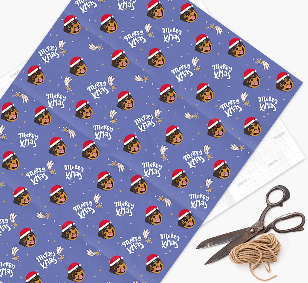 'Merry X-Mas' Wrapping Paper for your Rottweiler