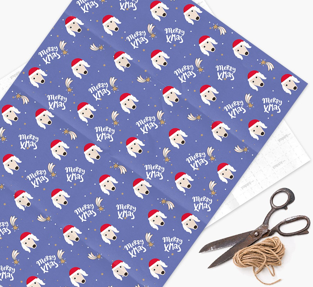 'Merry X-Mas' Wrapping Paper for your Saluki