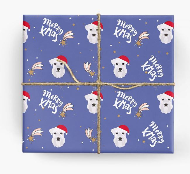 'Merry X-Mas' Wrapping Paper for your Schnauzer