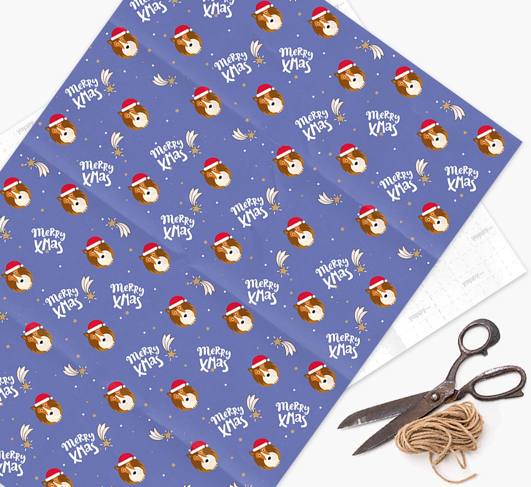 'Merry X-Mas' Wrapping Paper for your Shetland Sheepdog