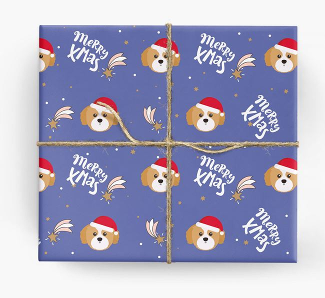 'Merry X-Mas' Wrapping Paper for your Shih Tzu