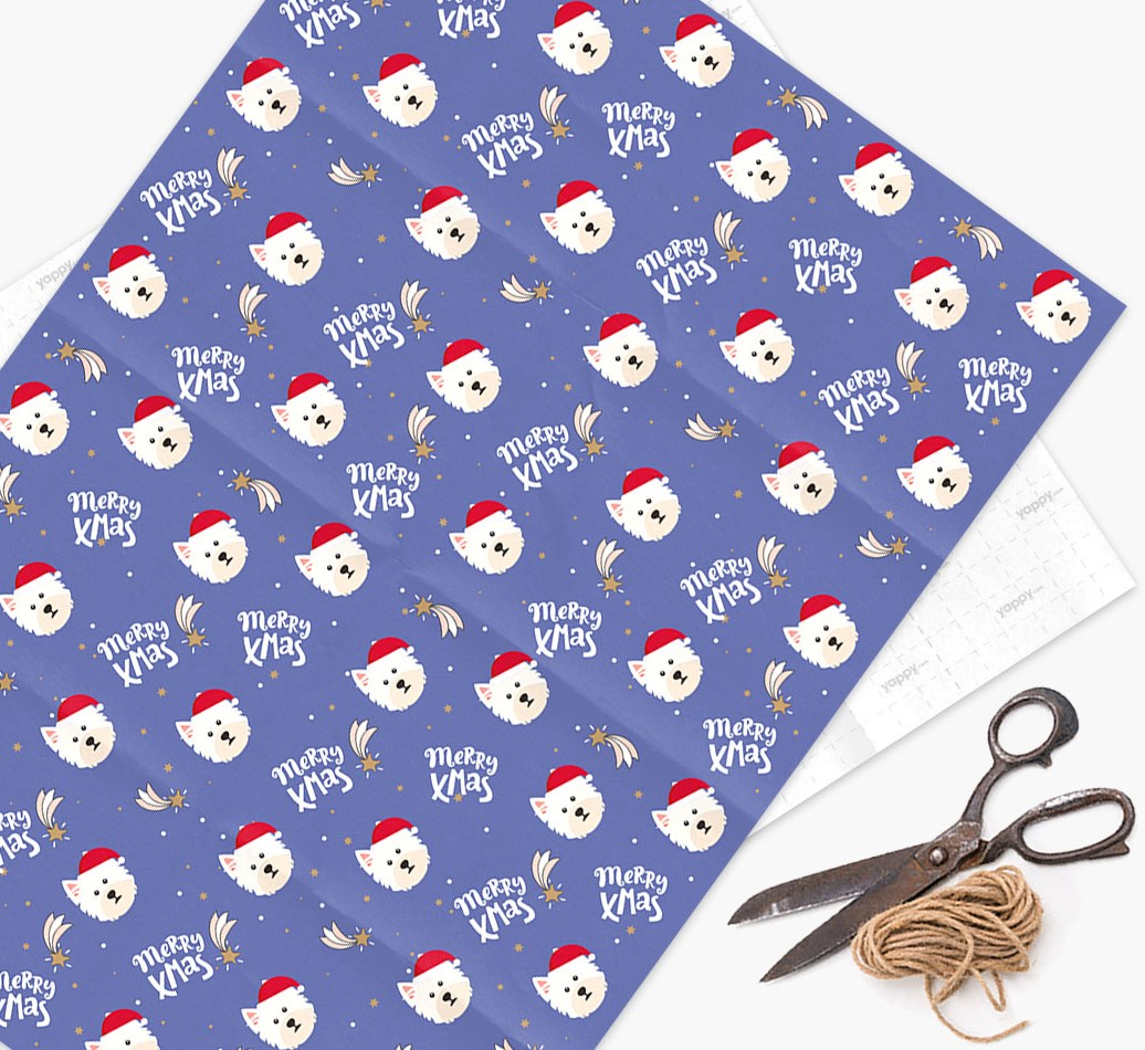 'Merry X-Mas' Wrapping Paper for your West Highland White Terrier