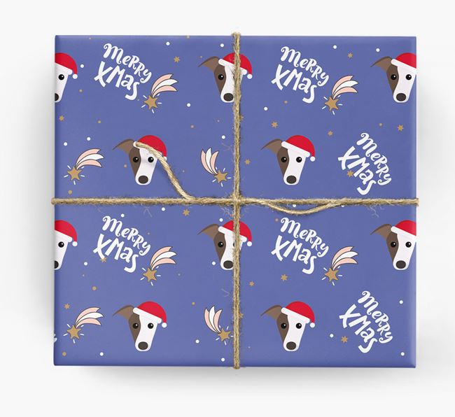'Merry X-Mas' Wrapping Paper for your Whippet