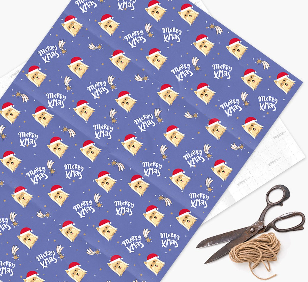 'Merry X-Mas' Wrapping Paper for your Yorkshire Terrier