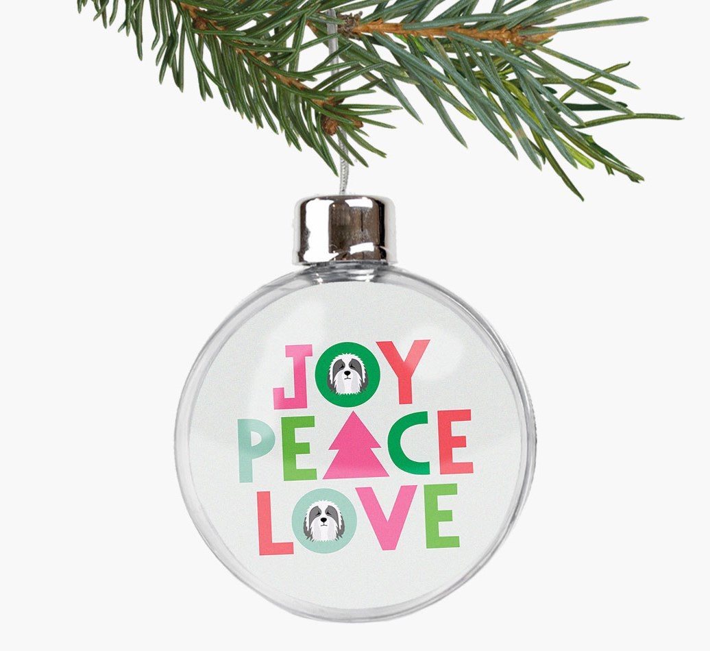 'Joy, Peace, Love' Fillable Bauble with your Bearded Collie Icon