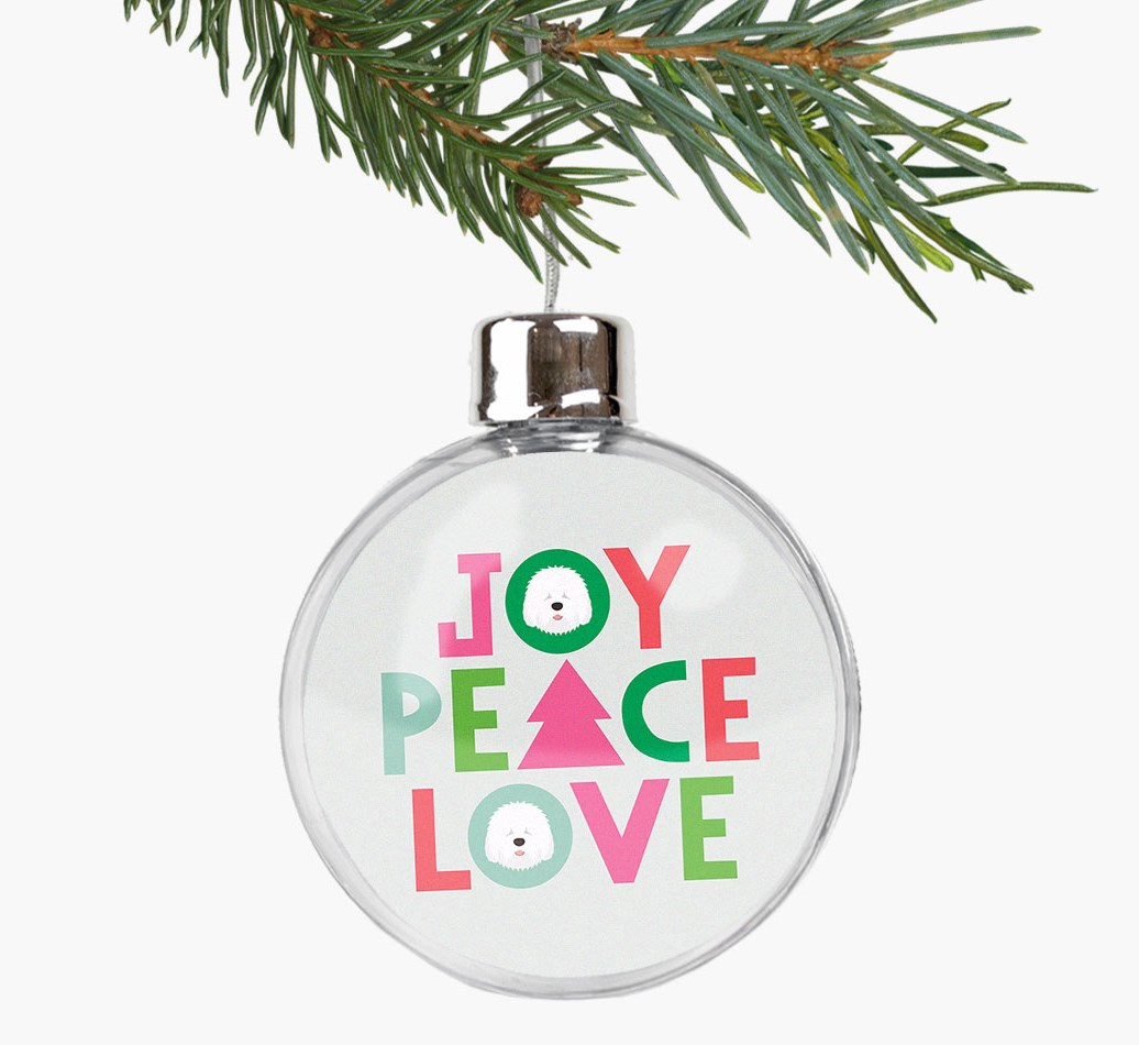 'Joy, Peace, Love' Fillable Bauble with your Old English Sheepdog Icon